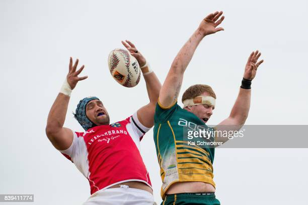 Everard Reid of Poverty Bay and Phil Watson of Mid Canterbury compete for a lineout during the round one Heartland Championship match between Mid...