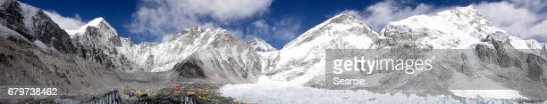 Everest base camp and mountain panorama