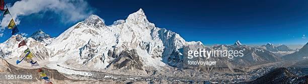 Everest Base Camp Khumbu Glacier prayer flags panorama Himalayas Nepal