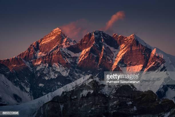 Everest mountain peak and Lhotse peak at sunset, Mera high camp, Everest region, Nepal
