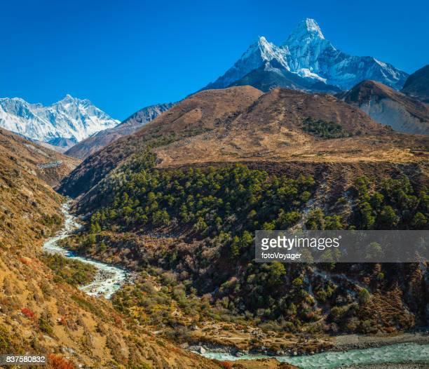 Everest Nuptse Lhotse Ama Dablam overlooking Khumbu Himalaya mountains Nepal