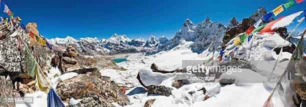 Everest prayer flags mountain pass panorama Himalayas Nepal