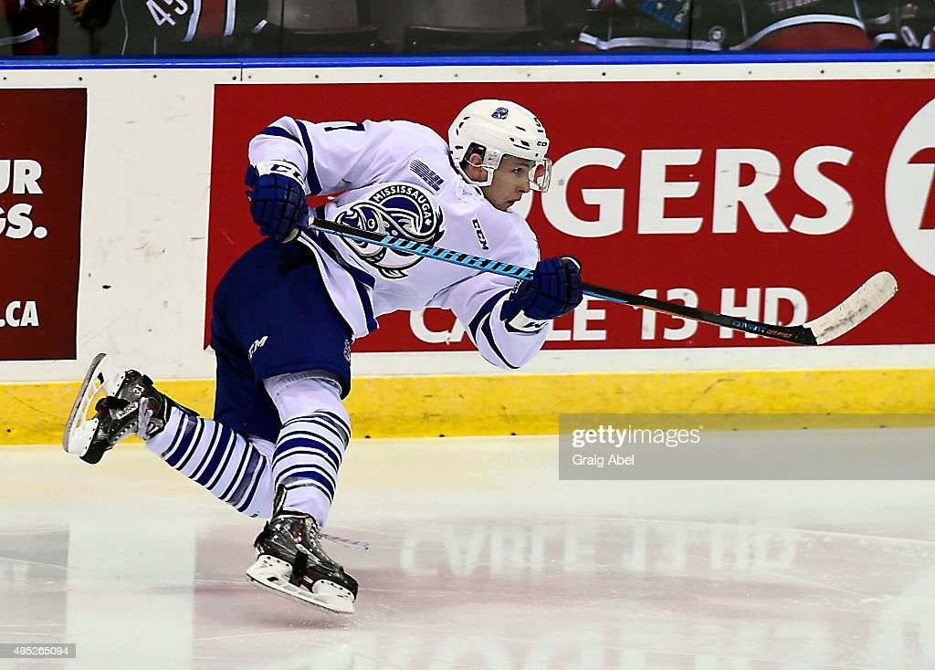 Everett Clark #17 of the Mississauga Steelheads takes a shot against the Barrie Colts during OHL game action on November 1, 2015 at the Hershey Centre in Mississauga, Ontario, Canada.