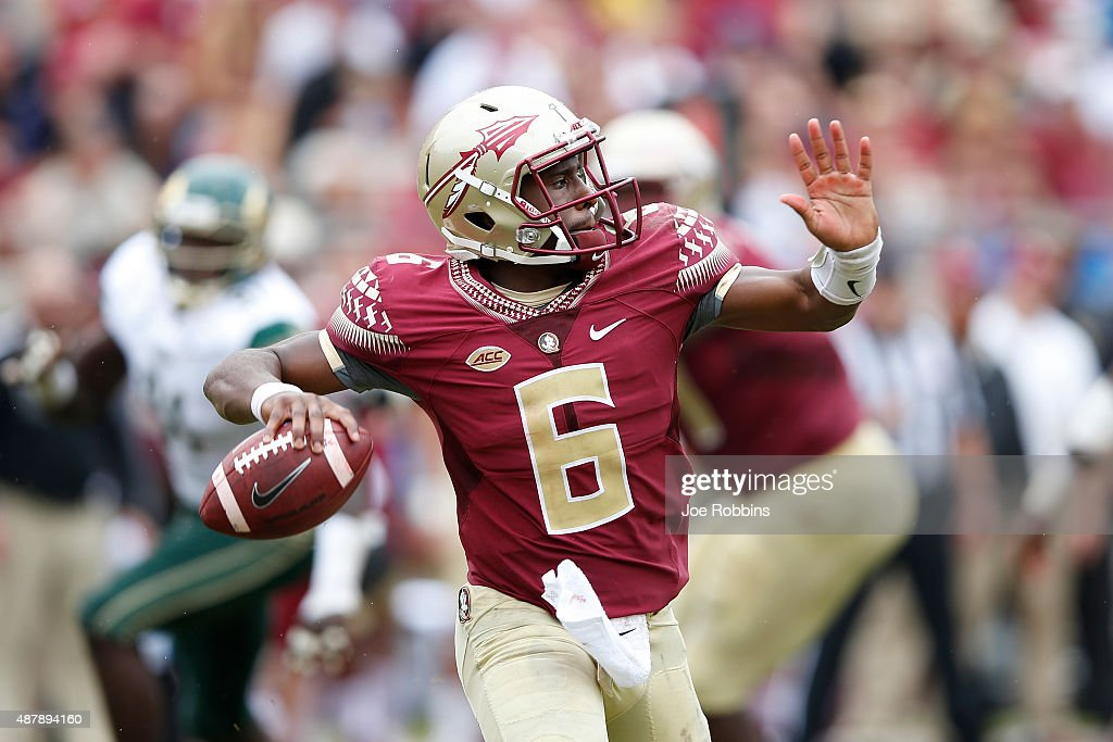 Everett Golson of the Florida State Seminoles passes against the South Florida Bulls during a game at Doak Campbell Stadium on September 12 2015 in...