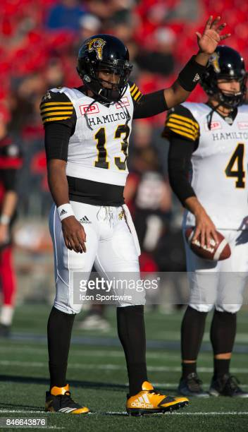 Everett Golson of the Hamilton TigerCats in Canadian Football League Action at TD Place Stadium in Ottawa Canada on Saturday September 9 2017 The...