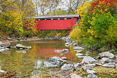 The Everett Road Covered Bridge crosses Furnace Run in Ohio's Cuyahoga Valley National Park.