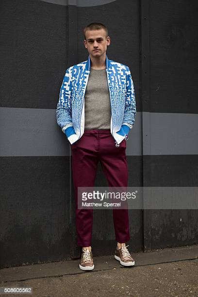 Everett Williams is seen at Skylight Clarkson North wearing a vintage Diesel jacket Marc Jacobs sweater Grand Frank watch Topman pants and Carlo...