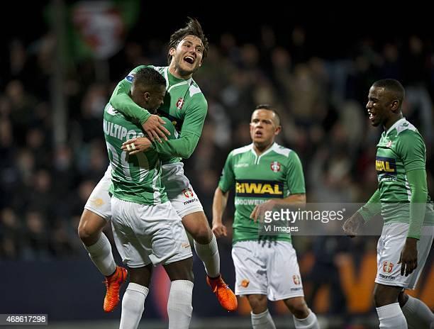 Everon Pisas of FC Dordrecht Joris van Overeem of FC Dordrecht during the Dutch Eredivisie match between FC Dordrecht and Heracles Almelo at the...