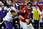 Everson Griffen of the Minnesota Vikings sacks Matt Ryan of the Atlanta Falcons during the second half at the Georgia Dome on November 29 2015 in...