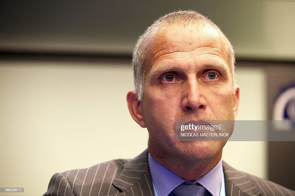 Evert Van Zwol attends a press conference of the Ryanair Pilot Group (RPG) of Irish low-cost airline Ryanair, on October 29, 2013, in Brussels. The pilots will elaborate on issues and concerns related to the employment model for Ryanair pilots.