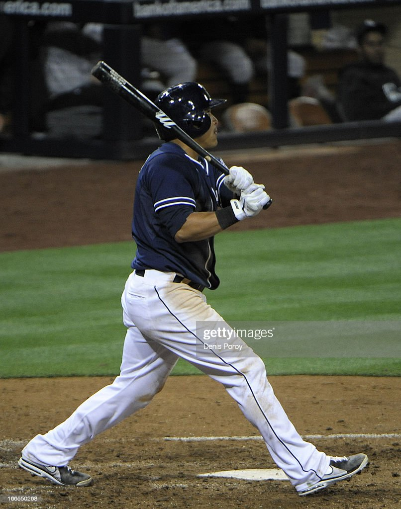 <a gi-track='captionPersonalityLinkClicked' href=/galleries/search?phrase=Everth+Cabrera&family=editorial&specificpeople=5743470 ng-click='$event.stopPropagation()'>Everth Cabrera</a> #2 of the San Diego Padres hits a solo home run during the seventh inning of a baseball game against the Colorado Rockies at Petco Park on April 13, 2013 in San Diego, California.