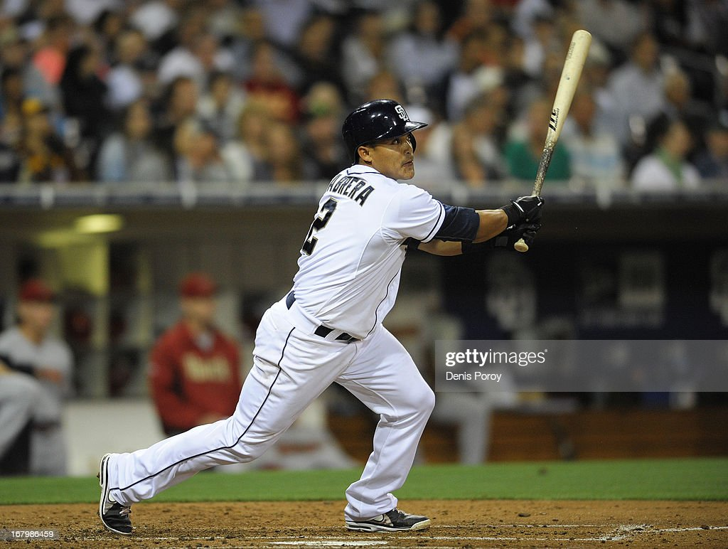 <a gi-track='captionPersonalityLinkClicked' href=/galleries/search?phrase=Everth+Cabrera&family=editorial&specificpeople=5743470 ng-click='$event.stopPropagation()'>Everth Cabrera</a> #2 of the San Diego Padres hits an RBI triple in the second inning of a baseball game against the Arizona Diamondbacks at Petco Park on May 3, 2013 in San Diego, California.