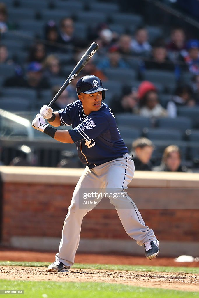 <a gi-track='captionPersonalityLinkClicked' href=/galleries/search?phrase=Everth+Cabrera&family=editorial&specificpeople=5743470 ng-click='$event.stopPropagation()'>Everth Cabrera</a> #2 of the San Diego Padres in action against the New York Mets during their game on April 4, 2013 at Citi Field in the Flushing neighborhood of the Queens borough of New York City.