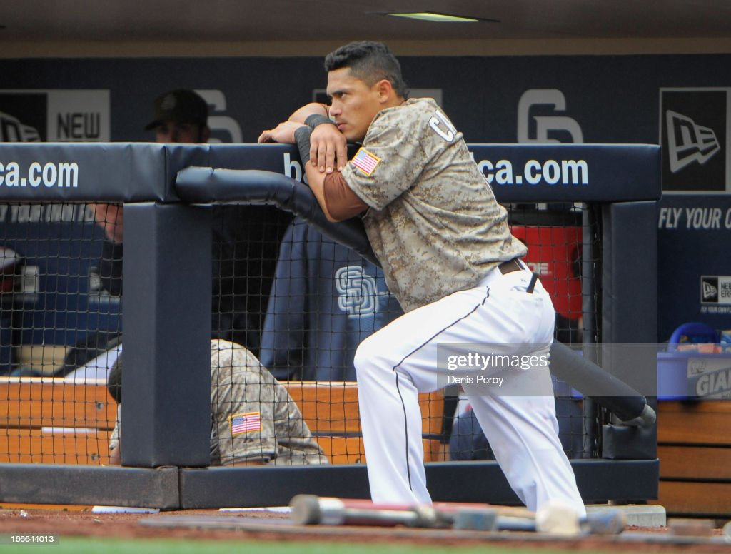 <a gi-track='captionPersonalityLinkClicked' href=/galleries/search?phrase=Everth+Cabrera&family=editorial&specificpeople=5743470 ng-click='$event.stopPropagation()'>Everth Cabrera</a> #2 of the San Diego Padres looks on from the dugout during the ninth inning of a baseball game against the Colorado Rockies at Petco Park on April 14, 2013 in San Diego, California. The Rockies won 2-1.