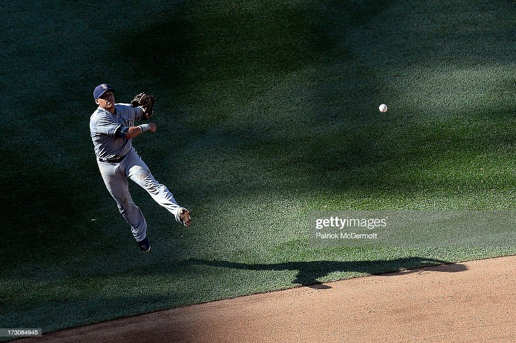 <a gi-track='captionPersonalityLinkClicked' href=/galleries/search?phrase=Everth+Cabrera&family=editorial&specificpeople=5743470 ng-click='$event.stopPropagation()'>Everth Cabrera</a> #2 of the San Diego Padres makes a throw to first base as Denard Span #2 of the Washington Nationals (not pictured) is safe on a single in the fifth inning during a game at Nationals Park on July 6, 2013 in Washington, DC.