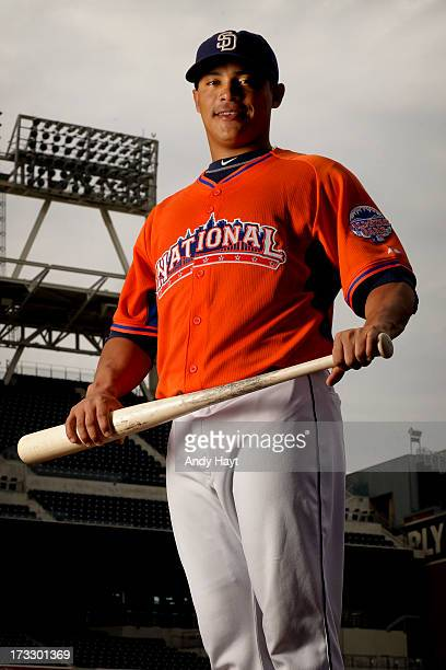 Everth Cabrera of the San Diego Padres models his All Star jersey prior to the game against the Colorado Rockies at Petco Park on July 10 2013 in San...