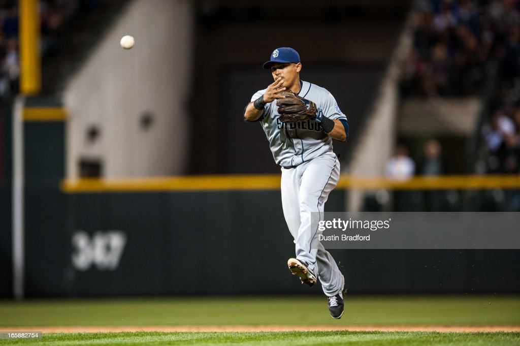 <a gi-track='captionPersonalityLinkClicked' href=/galleries/search?phrase=Everth+Cabrera&family=editorial&specificpeople=5743470 ng-click='$event.stopPropagation()'>Everth Cabrera</a> #2 of the San Diego Padres puts out a runner at first base in the eighth inning of a game against the Colorado Rockies at Coors Field on April 6, 2013 in Denver, Colorado. The Rockies Beat the Padres 6-3.