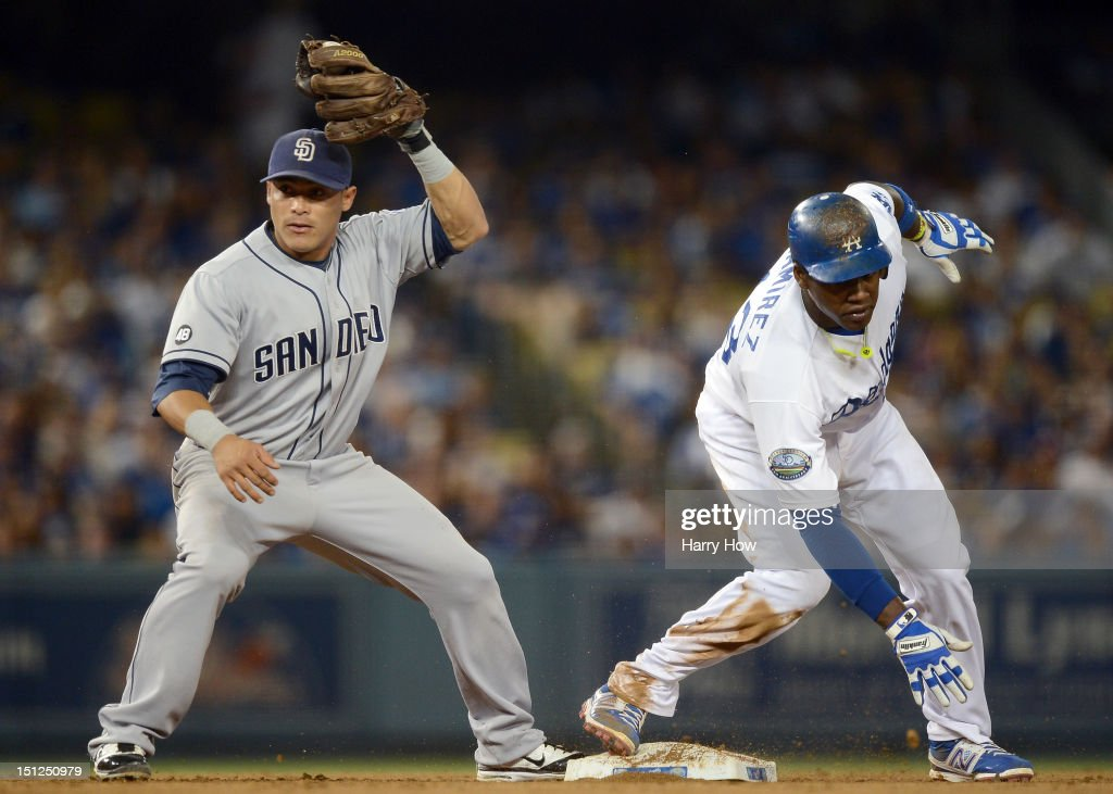 <a gi-track='captionPersonalityLinkClicked' href=/galleries/search?phrase=Everth+Cabrera&family=editorial&specificpeople=5743470 ng-click='$event.stopPropagation()'>Everth Cabrera</a> #2 of the San Diego Padres reacts as <a gi-track='captionPersonalityLinkClicked' href=/galleries/search?phrase=Hanley+Ramirez&family=editorial&specificpeople=538406 ng-click='$event.stopPropagation()'>Hanley Ramirez</a> #13 of the Los Angeles Dodgers steals second base during the fourth inning at Dodger Stadium on September 4, 2012 in Los Angeles, California.