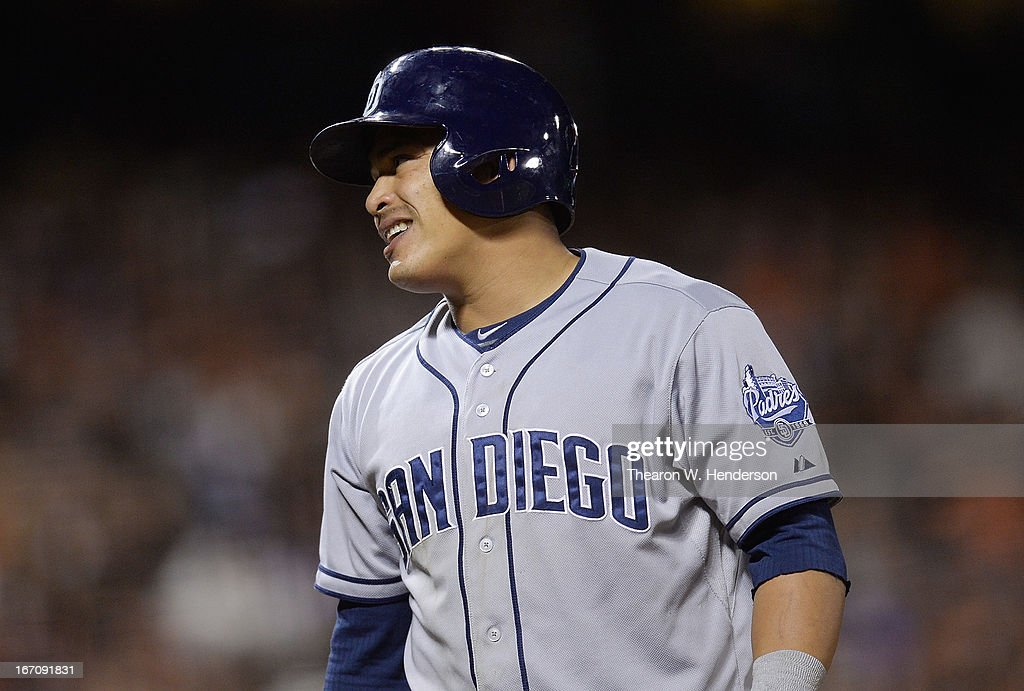 <a gi-track='captionPersonalityLinkClicked' href=/galleries/search?phrase=Everth+Cabrera&family=editorial&specificpeople=5743470 ng-click='$event.stopPropagation()'>Everth Cabrera</a> #2 of the San Diego Padres reacts to a called third strike against the San Francisco Giants in the sixth inning at AT&T Park on April 19, 2013 in San Francisco, California.