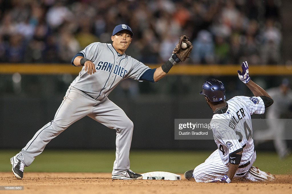 <a gi-track='captionPersonalityLinkClicked' href=/galleries/search?phrase=Everth+Cabrera&family=editorial&specificpeople=5743470 ng-click='$event.stopPropagation()'>Everth Cabrera</a> #2 of the San Diego Padres tags out <a gi-track='captionPersonalityLinkClicked' href=/galleries/search?phrase=Dexter+Fowler&family=editorial&specificpeople=4949024 ng-click='$event.stopPropagation()'>Dexter Fowler</a> #24 of the Colorado Rockies at second base in the eighth inning of a game at Coors Field on April 6, 2013 in Denver, Colorado. The Rockies Beat the Padres 6-3.