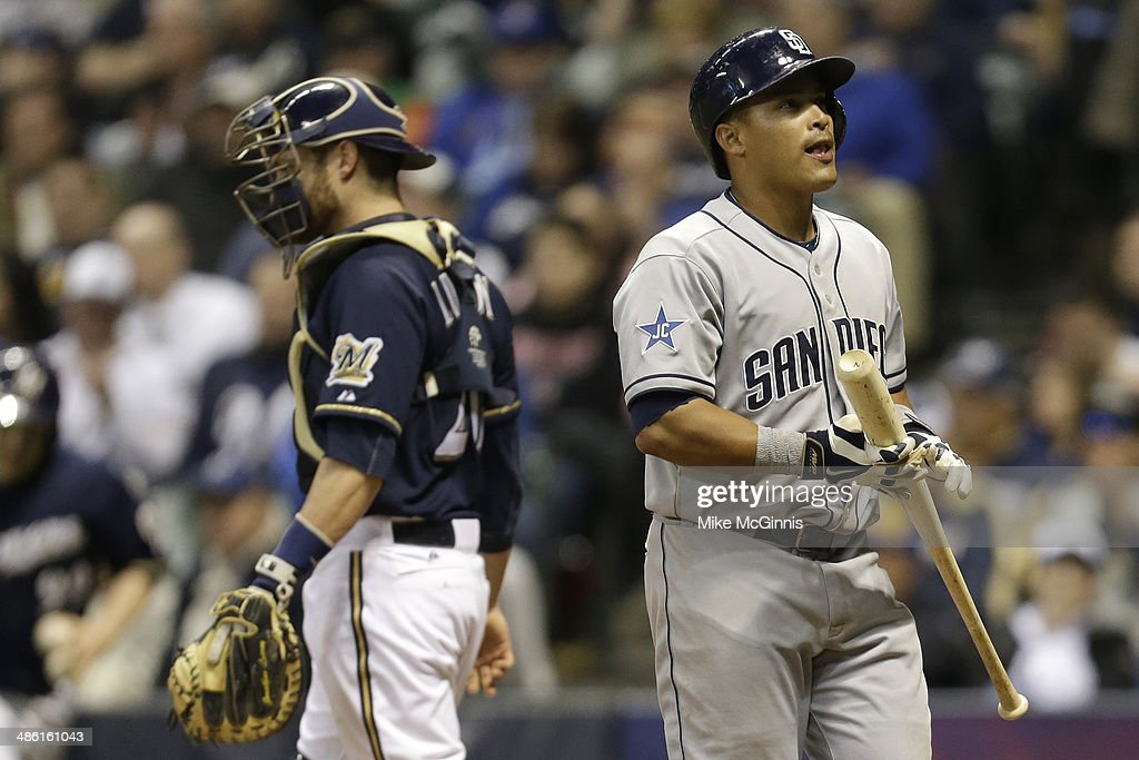 <a gi-track='captionPersonalityLinkClicked' href=/galleries/search?phrase=Everth+Cabrera&family=editorial&specificpeople=5743470 ng-click='$event.stopPropagation()'>Everth Cabrera</a> #2 of the San Diego Padres walks to the dugout after striking out in the top of the eighth inning against the Milwaukee Brewers at Miller Park on April 22, 2014 in Milwaukee, Wisconsin.
