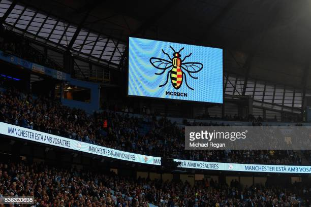 Everton and Manchester City pay tribute to terror attack victims with bumblebee during the Premier League match between Manchester City and Everton...