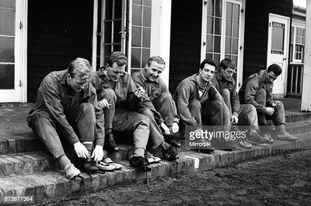 Everton at a special training for their third cup tie with Sheffield Wednesday at their training ground in West Derby Liverpool Pictured preparing...
