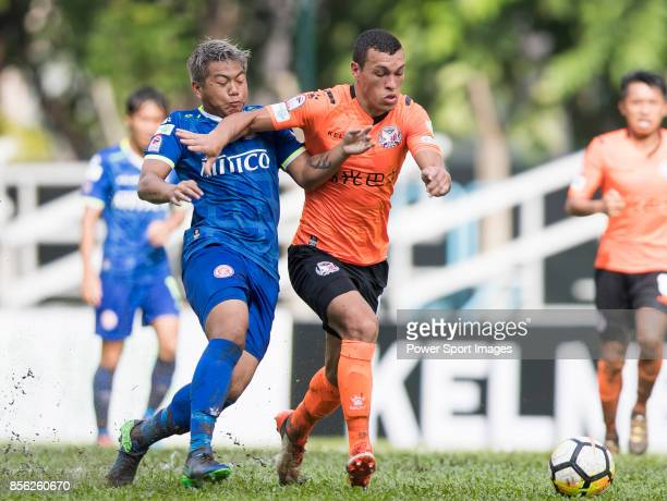 Everton Camargo of Sun Bus Yeun Long fights for the ball with Cheuk Hin Lau of BC Rangers during the Hong Kong Premier League Week 4 match between BC...