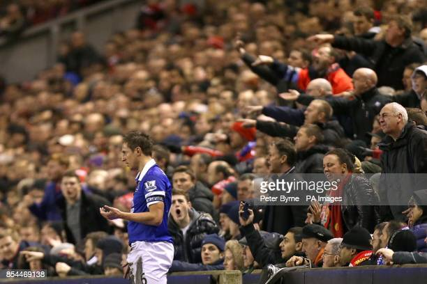 Everton captain Phil Jagielka comes in for some stick from the Liverpool fans