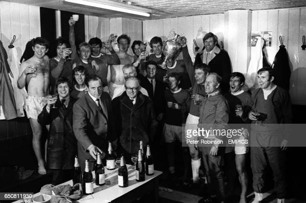 Everton celebrate winning the Championship BACK ROW lr Howard Kendall Colin Harvey Alan Whittle Tommy Wright Sandy Brown Jimmy Husband Joe Royle...
