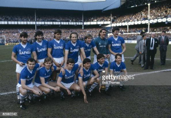 Everton celebrate with the Canon First Division Championship trophy after the presentation prior to their match against West Ham United at Goodision...