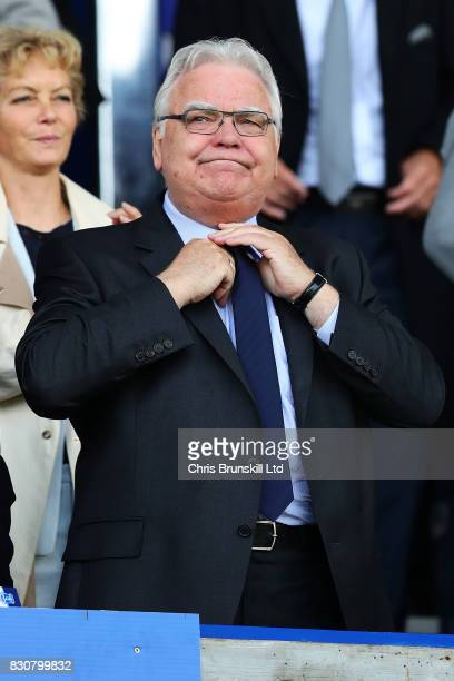 Everton chairman Bill Kenwright looks on during the Premier League match between Everton and Stoke City at Goodison Park on August 12 2017 in...
