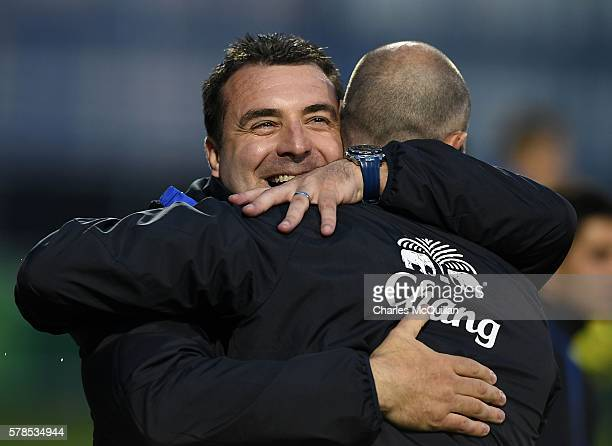 Everton coach David Unsworth celebrates after the NI Super Cup U21 football match between Everton and Espanyol at Coleraine Showgrounds on July 21...