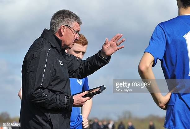 Everton coach Kevin Sheedy talks to his players before the Everton v Liverpool U18 Premier League game at Finch Farm on April 9 2016 in Halewood...