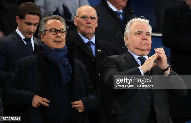 Everton coowner Farhad Moshiri and chairman Bill Kenwright in the stands during the Premier League match at Goodison Park Liverpool