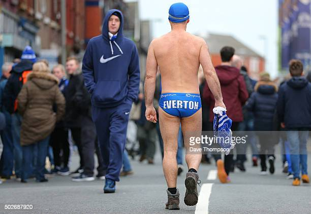 Everton fan Michael Cullen prior to the Barclays Premier League match between Everton and Stoke City at Goodison Park on December 28 2015 in...