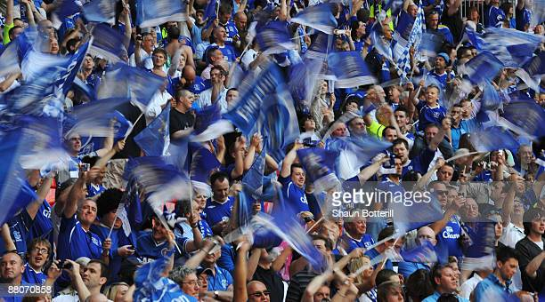 Everton fans enjoy the atmosphere prior to the FA Cup sponsored by EON Final match between Chelsea and Everton at Wembley Stadium on May 30 2009 in...
