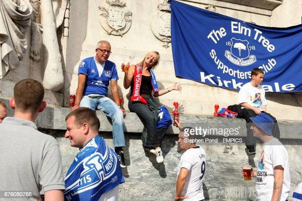 Everton fans gather in the centre of Lisbon ahead of their sides' match against Benfica Tshirts worn by the fans are in support of missing child and...