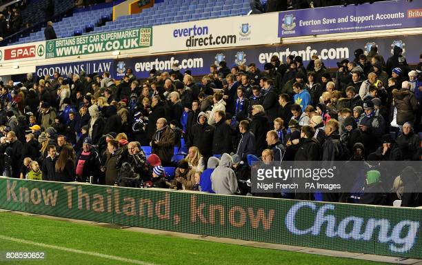 Everton fans in the stands during the halftime interval