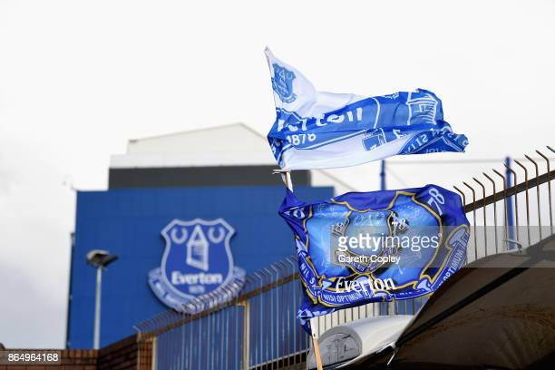 Everton flags are seen waving in the wind prior to the Premier League match between Everton and Arsenal at Goodison Park on October 22 2017 in...