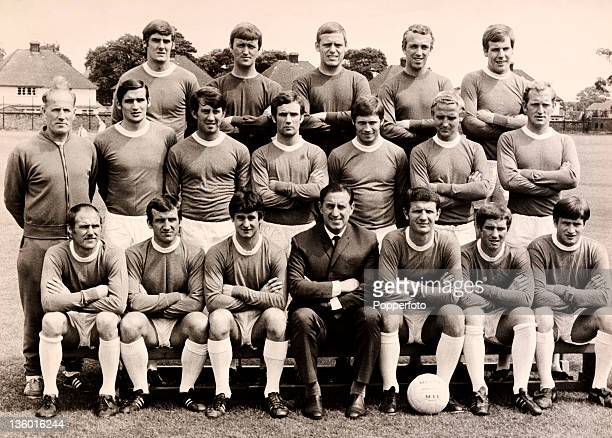 Everton Football Club circa August 1968 Back row left to right Roger Kenyon Andy Rankin Gordon West Geoff Barnett and Joe Royle middle row left to...