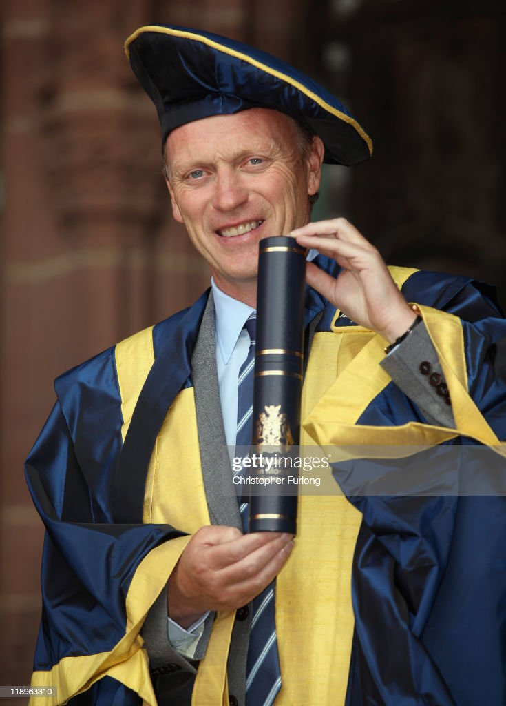 Everton Football Club manager <a gi-track='captionPersonalityLinkClicked' href=/galleries/search?phrase=David+Moyes&family=editorial&specificpeople=215482 ng-click='$event.stopPropagation()'>David Moyes</a> poses for photographers at Liverpool's Anglican Cathedral on July 13, 2011 in Liverpool, England. Everton manager <a gi-track='captionPersonalityLinkClicked' href=/galleries/search?phrase=David+Moyes&family=editorial&specificpeople=215482 ng-click='$event.stopPropagation()'>David Moyes</a> was made an Honorary Fellow for Outstanding Contributions to football and sportsmanship, by Liverpool John Moores' University during it's annual graduation ceremony.