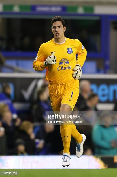 Everton goalkeeper Joel Robles runs out on to the pitch at the start of the second half