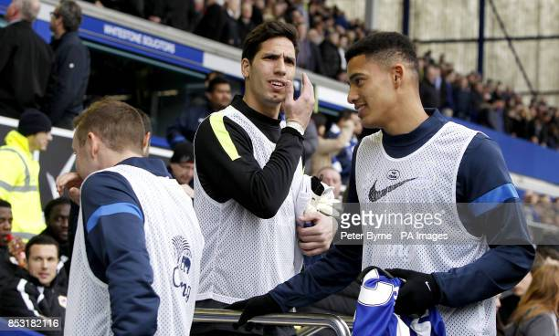 Everton goalkeeper Joel Robles takes his seat on the substitute's bench