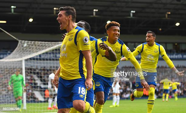 Everton goalscorer Gareth Barry celebrates the winning Everton goal during the Premier League match between West Bromwich Albion and Everton at The...