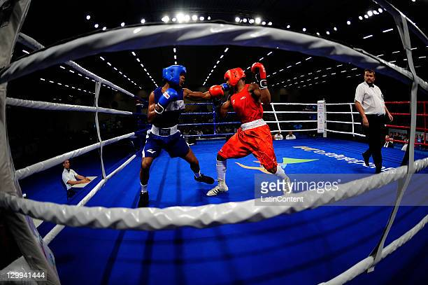 Everton Lopes of Brazil Ricardo Garcia of the Dominican Republic fighter in boxing Light Welterweight 64 kg in 2011 Pan American Games Guadalajara...