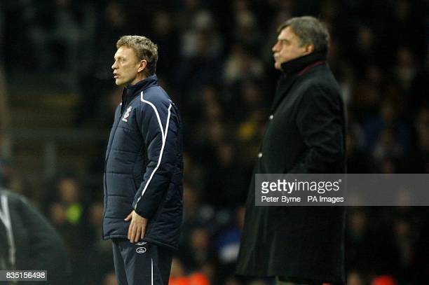 Everton manager David Moyes and Blackburn Rovers manager Sam Allardyce on the touchline during the match