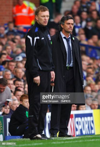 Everton manager David Moyes and Chelsea manager Jose Mourinho