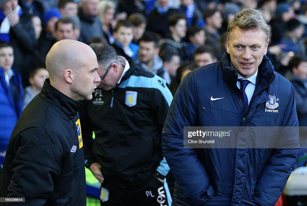 Everton manager David Moyes in good spirits prior to the start of the Barclays Premier League match between Everton and Aston Villa at Goodison Park on February 2, 2013 in Liverpool, England.