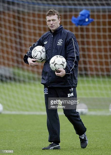 Everton manager David Moyes looks on during the Everton training session at the Bellefield Sports Ground on January 17 2003 in West Derby Liverpool...
